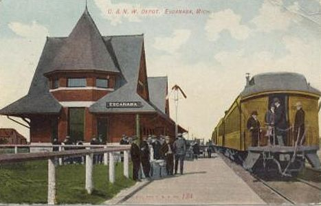 CNW Depot at Escanaba, MI with train