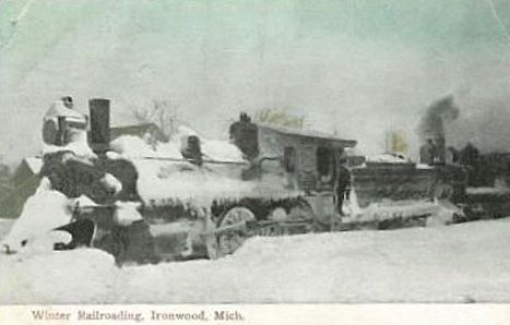 CNW Locomotive in Blizzard at Ironwood