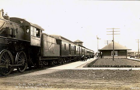 GR&I Wayland Depot and Train 1910